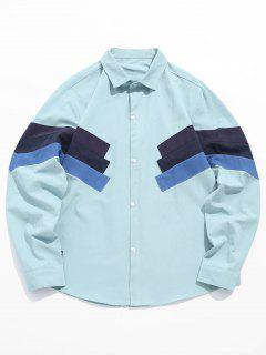 Color Block Patchwork Shirt - Baby Blue 3xl