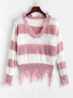 Distressed Striped Chunky Sweater - Multi