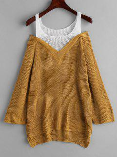 Cold Shoulder Farbblock High Low Pullover - Dunkle Goldrute