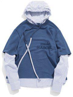 Brief Embroidery Drawstring False Zwei Stück Hoodie - Blau L