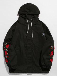 Zip Fly Flower Embroidery Hooded Jacket - Black Xl
