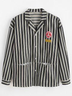 Letter Embroidery Striped Hidden Pocket Jacket - Black 2xl