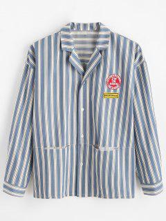 Letter Embroidery Striped Hidden Pocket Jacket - Denim Blue 3xl