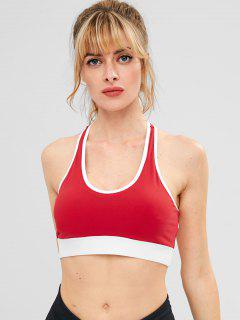 ZAFUL Contrast Piping Cutout Sports Bra - Red S