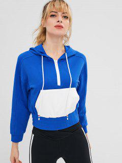 ZAFUL Raglan Sleeve Half Zip Pocket Hoodie - Blue M