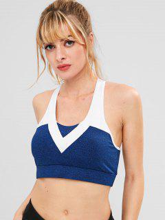 ZAFUL Heather Racerback Sports Bra - Deep Blue S