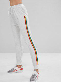 ZAFUL Pocket Striped Drawstring Jogger Pants - Light Gray M