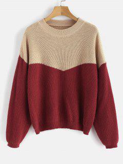 Metallic Thread Two Tone Sweater - Multi