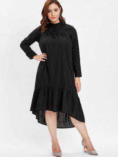 Long Sleeve Plus Size Midi Smock Dress - Black 2x