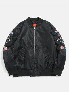 Stand Collar Zip Up Souvenir Jacket - Black M