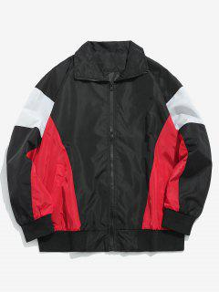 Color Block Zip Front Pockets Jacket - Black Xl
