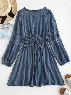 ZAFUL Lace Panel Mini Long Sleeve Dress - Dark Slate Blue M