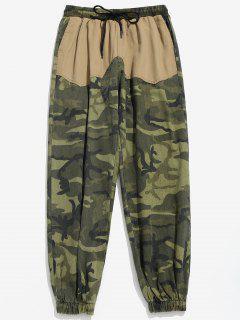 Camo Pockets Patchwork Jogger Pants - Khaki Xl