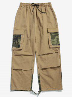 Camo Patchwork Drawstring Cargo Pants - Khaki L