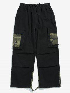 Camo Patchwork Drawstring Cargo Pants - Black L