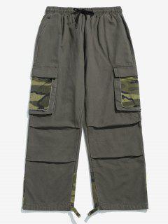 Camo Patchwork Drawstring Cargo Pants - Gray 3xl