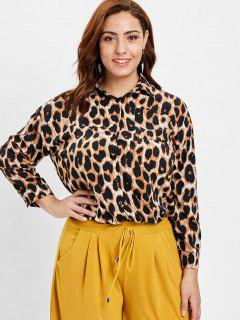Plus Size Pocket Leopard Shirt - Multi-a 2x