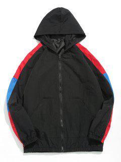 Color Block Hooded Zip Up Windbreaker - Black L