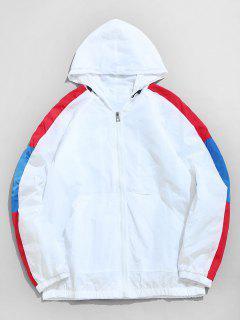 Color Block Hooded Zip Up Windbreaker - White L