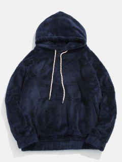 Solid Pouch Pocket Fluffy Hoodie - Marble Blue Xl