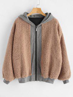 Hooded Color Block Faux Shearling Coat - Tan L