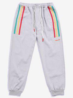 Casual Striped Patch Jogger Pants - Gray S