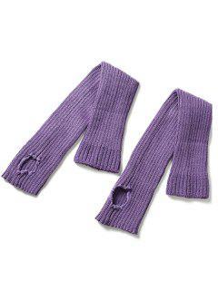 Winter Striped Knitted Leg Warmers - Purple