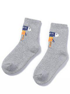 Winter Cartoon Animal Ankle Socks - Gray Cloud