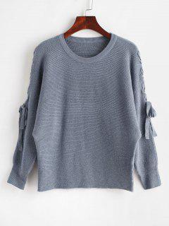 Batwing Sleeve Schnür-Pullover - Schiefer Blau