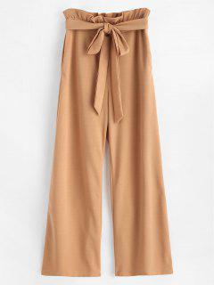ZAFUL High Waisted Wide Leg Palazzo Pants - Light Brown M