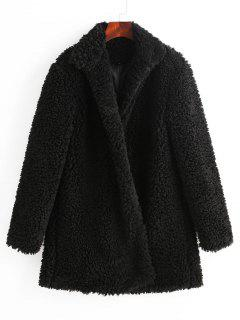 ZAFUL Faux Shearling Fluffy Winter Teddy Coat - Black Xl