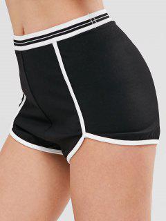 ZAFUL Striped Contrast Piping Sports Shorts - Black L