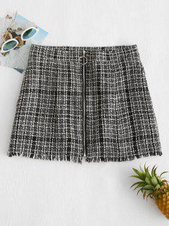 Frayed Tweed Zip Up Skirt - Black L