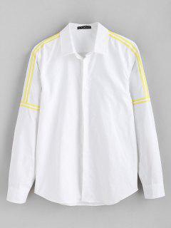 ZAFUL Ribbon Embellished Solid Color Shirt - White S