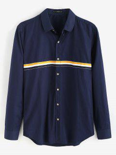 ZAFUL Button Fly Mangas Largas Camisa A Rayas - Azul De Medianoche S