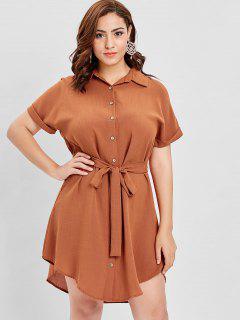 ZAFUL Plus Size Cuffed Sleeves Belted Dress - Halloween Orange 1x