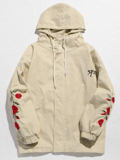 Zip Fly Flower Embroidery Hooded Jacket - Warm White Xl