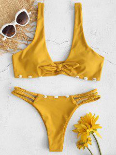 ZAFUL Braided Seashell Knot Bikini Set - Golden Brown M