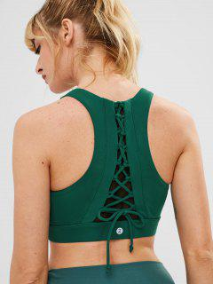ZAFUL Lace Up Racerback Sports Bra - Dark Green S