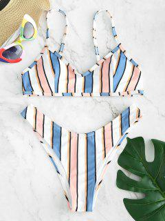 ZAFUL Colorful Striped Bikini Set - Multi S