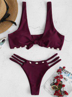 ZAFUL Braided Seashell Knot Bikini Set - Plum Velvet S