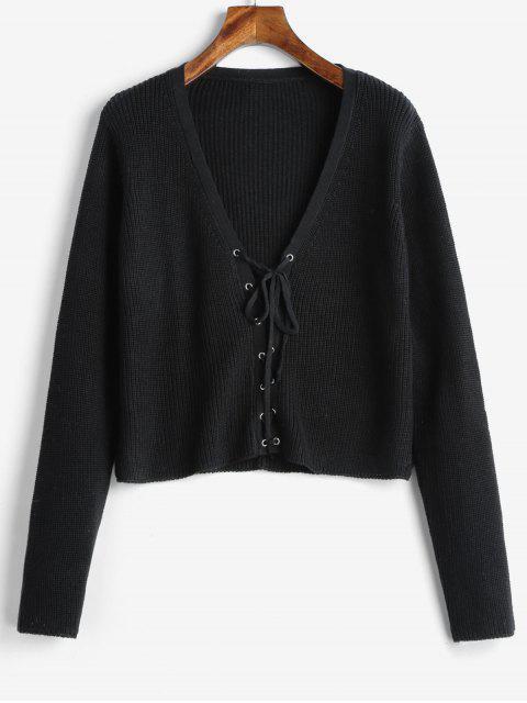 Kurzer V-Pullover mit Schnürung - Schwarz Eine Größe Mobile