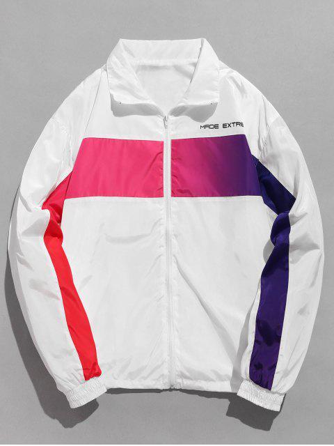 Brustpatch Contrast Windbreaker Jacke - Weiß M Mobile