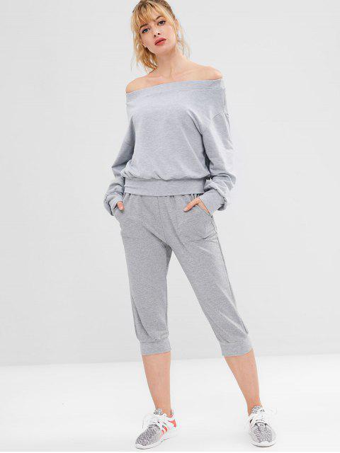 Schulterfreies Sport Drop Shoulder Sweatshirt - Grau S Mobile