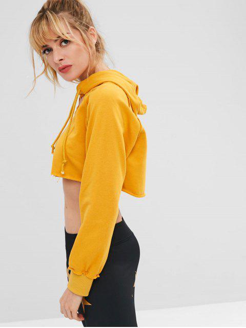 Raw Hem Crop Hoodie - Orange Gold M Mobile