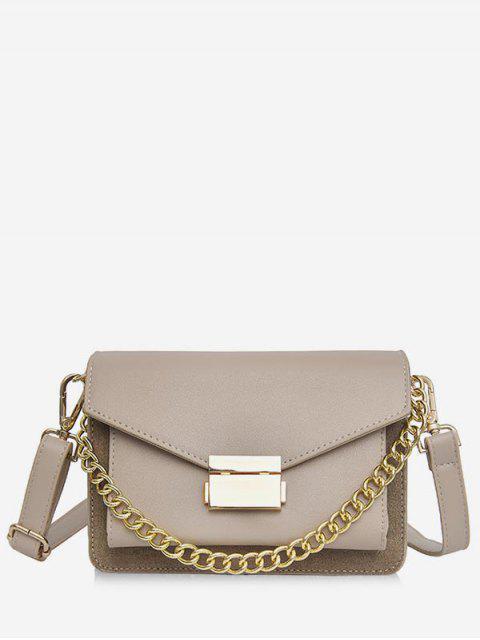 Bolso bandolera sólido de cadena minimalista - Caqui Claro  Mobile