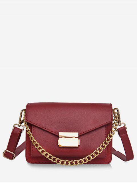 ladies Minimalist Chain Solid Crossbody Bag - RED  Mobile