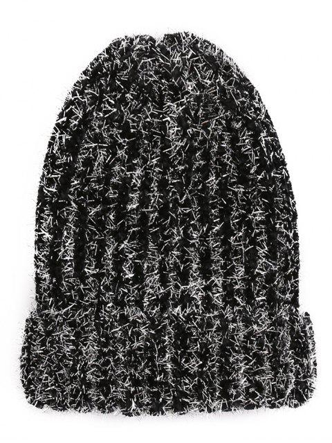 ladies Striped Flanging Knitted Ski Cap - BLACK  Mobile