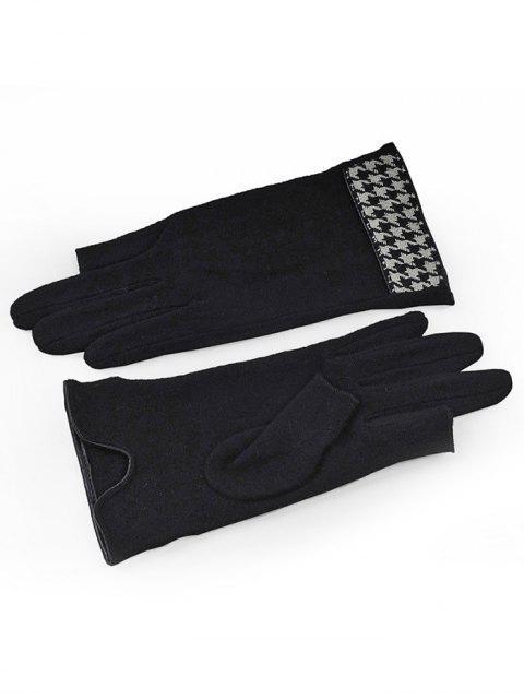 Gants chauds d'hiver à pied de poule - Noir  Mobile