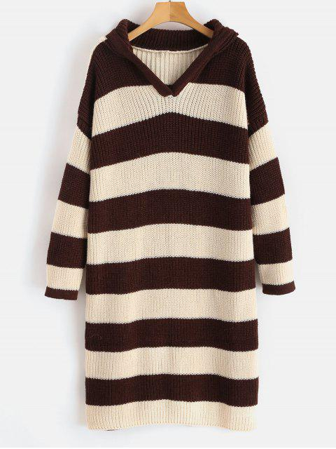 outfit Hooded Striped Longline Sweater - MULTI ONE SIZE Mobile